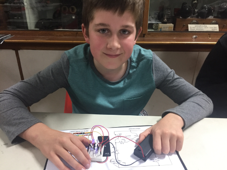 Matthew with his Electronic Prototyping Kit