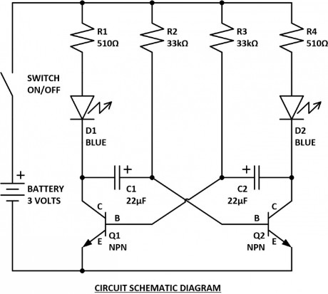 Electronic Circuit Schematic Diagram- Astable Multivibtator