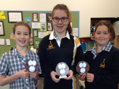 Susannah, Isobel and Ciara with their Hypnotic Owl models